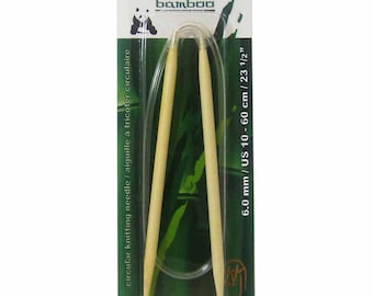 Bamboo Circular Knitting Needle - US 10, 23.5 inches, knitting in the round, hat, sweater, socks, wooden, panda, wool