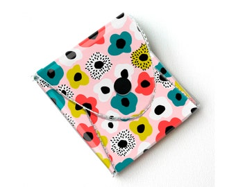 Vinyl Pouch - Blooming Spring Flower Power / small wallet, coin purse, vegan wallet, kids wallet, floral, flowers, gardener, gift