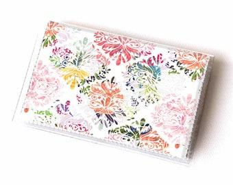 Vinyl Card Holder - Joyful Spring2 / yellow, floral, flowers, card case, vinyl wallet, women's, small wallet, pretty, gift, cute, summer