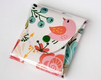 Handmade Vinyl Coin Purse - Amazing/ wallet, vegan, change, snap, small, little, pocket wallet, gift, bird, pink, floral, cute