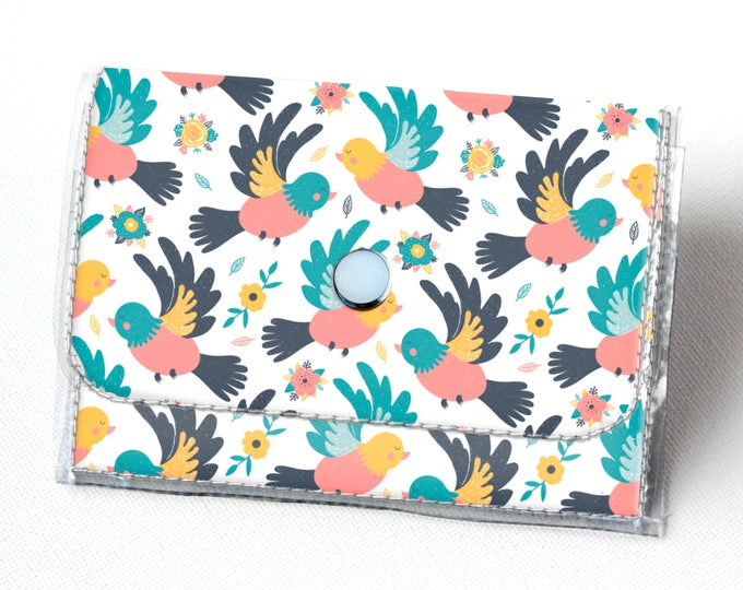 Handmade Vinyl Accordion Wallet - Spring Birds / small wallet, snap, cute, card case, vinyl wallet, womens wallet, vegan wallet, bird wallet