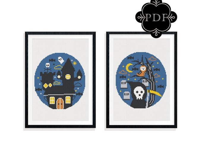 PDF Counted Cross Stitch - Retro Halloween / grim reaper, haunted house, pattern, instruction, spooky, embroidery, stitch, ghost, skull, bat