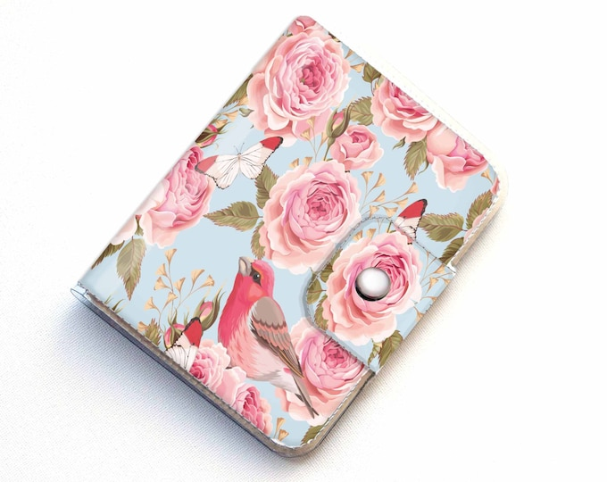 Vinyl Passport Case - Vintage Roses 1 / traveler, passport, adventure, gift, vinyl, woman's, wallet, bird, floral, roses, pretty, polka dot