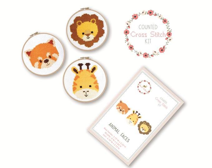 SALE Counted Cross Stitch Kit - Animal Faces / red panda, giraffe, lion, craft kit, embroidery, pattern, gift, fun craft, supplies