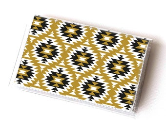 Handmade Vinyl Card Holder - Aztec1  / card case, vinyl wallet, women's wallet, small wallet, cute, boho, aztec, tribal, mustard,