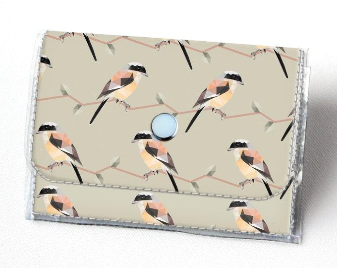 Handmade Vinyl Accordion Wallet - Geometric Birds / small wallet, snap, cute, card case, vinyl wallet, women's wallet, birds, woodland, gift