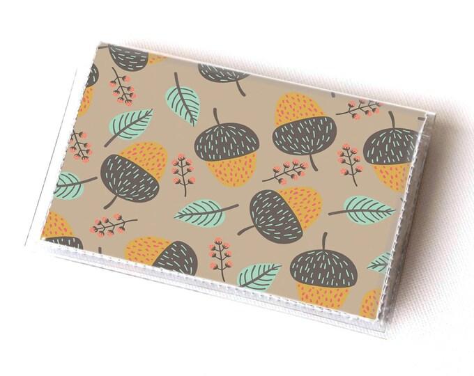NEW Handmade Vinyl Card Holder - Acorns / card case, vinyl wallet, women's wallet, small wallet, gift, acorn, men, woodland, forest