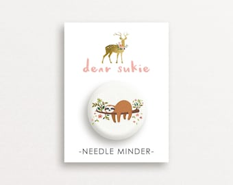 Needle Minder - Lazy Day, sloth needle minder, cute,  embroidery, cross stitch, needlework, supplies, xstitch, dear sukie, magnet, gift