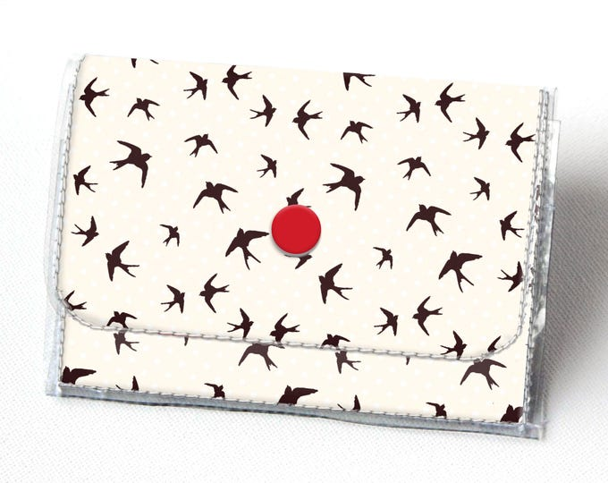 Vinyl Accordion Wallet - The Birds / small, bird, snap, cute, card case, vinyl wallet, women's wallet, blue, clouds, teal and red, hitchcock
