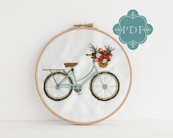 PDF Counted Cross Stitch - Lovely Day  bicycle cross stitch diy, how-to, embroidery, pattern, gift, dmc, supply, instruction, baby, bike