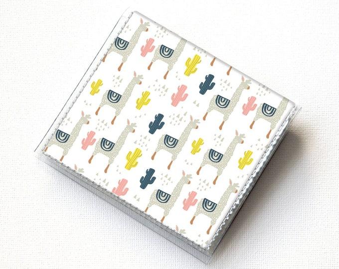 Vinyl Moo Square Card Holder - Alpaca / llama, cactus, succulent, cute, case, vinyl, snap, wallet, paper, mini card case, moo case, square