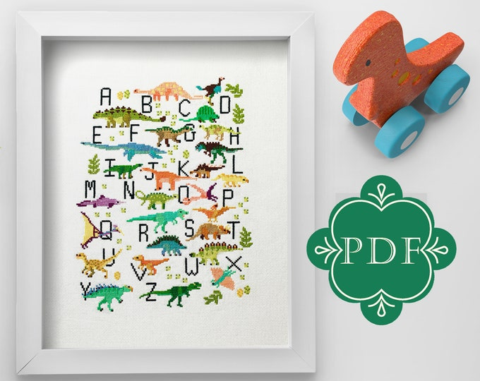 PDF Counted Cross Stitch - Dinosaur Alphabet / dino cross stitch, kid, embroidery, pattern, gift, boy, supply, instruction, letters