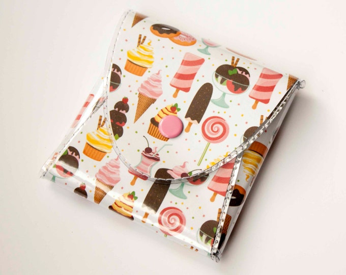 NEW Handmade Vinyl Coin Purse - Ice Cream and Sweets / wallet, vegan, change, snap, small, little, pocket wallet, gift, owl, bird, woodland