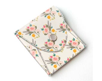 Vinyl Coin Purse - Flora Bouquets / wallet, vegan, change, snap, small, little, pocket wallet, gift, floral, yellow, flowers, pretty