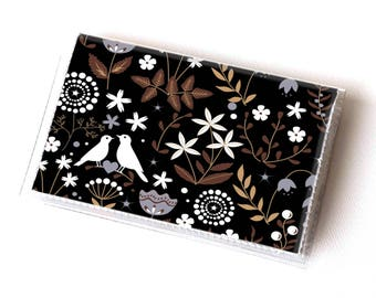 Vinyl Card Holder - Autumn Flora / card case, snap, vinyl wallet, women's wallet, small wallet, pretty, floral, flowery, gift, bird
