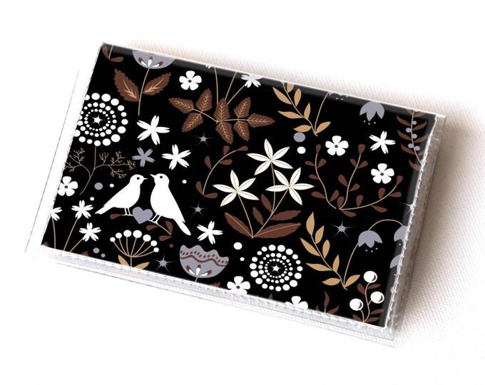 Vinyl Card Holder - Autumn Flora / card case, snap, vinyl wallet, women's wallet, small wallet, pretty, floral, flowery, gift, bird