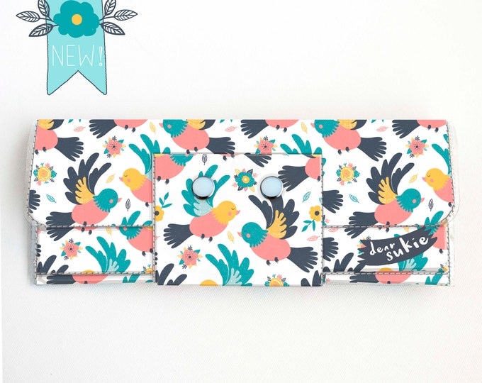 Vinyl Long Wallet - Spring Birds / bird wallet, vegan, pretty, large wallet, clutch, card case, vinyl wallet, handmade, summer accessories