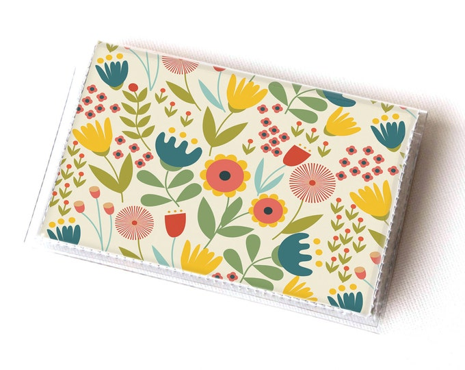 Vinyl Card Holder - Scandinavian Summer1  / card case, snap, vinyl wallet, women's wallet, small wallet, pretty, floral, flowery, gift