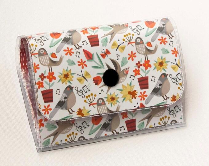 Handmade Vinyl Accordion Wallet - Song Birds/ small wallet, snap, cute, card case, vinyl wallet, women's wallet, birds, woodland, gift