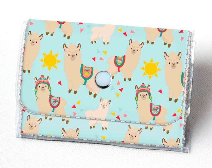 Handmade Vinyl Accordion Wallet - Sunny Alpaca / llama, small wallet, snap, cute, card case, vinyl wallet, women's wallet, zipper