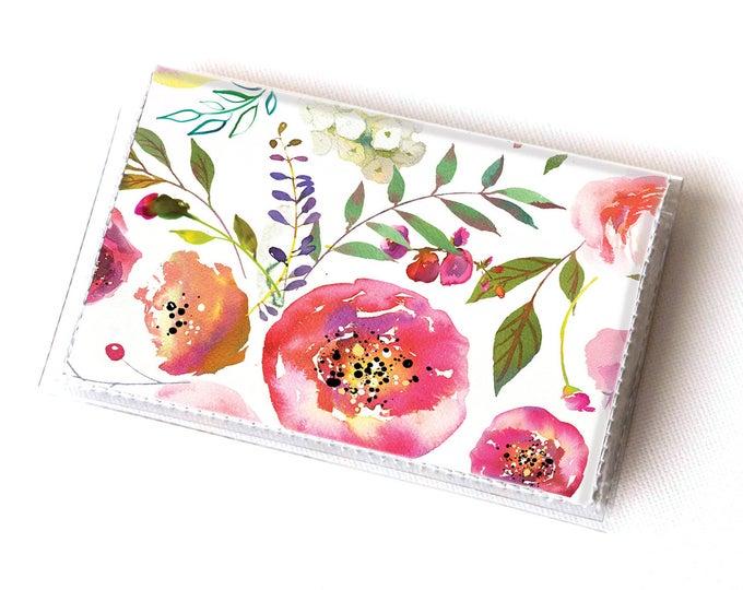 Vinyl Card Holder - Pastel Floral Pink / flowers, peony, peonies, vintage, card case, vinyl wallet, women's wallet, small, pretty