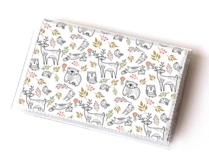 Handmade Vinyl Card Holder - In the Woodland  / card case, vinyl wallet, women's wallet, small wallet, fox, woodland, gift, cute, floral