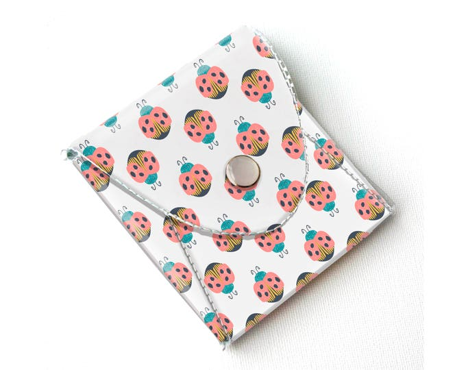 Vinyl Coin Purse - Ladybug / coin, wallet, vegan wallet, change, small, little, pocket wallet, gift, flowers, floral, notion case, cute