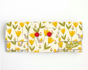 Vinyl Long Wallet - Scandinavian Summer 2 / folk, floral, flowers, bright, vegan, large wallet, clutch, card case, vinyl wallet, handmade