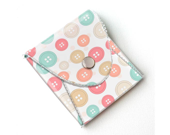 Vinyl Pouch - Buttons / wallet, vegan, change, snap, small, little, pocket wallet, gift, pink, sewing, case, notion, travel