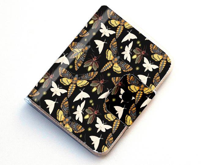 Vinyl Passport Case - Moths and Fireflies / traveller, passport, adventure, gift, vinyl, woman's, wallet, insect, butterfly, butterflies