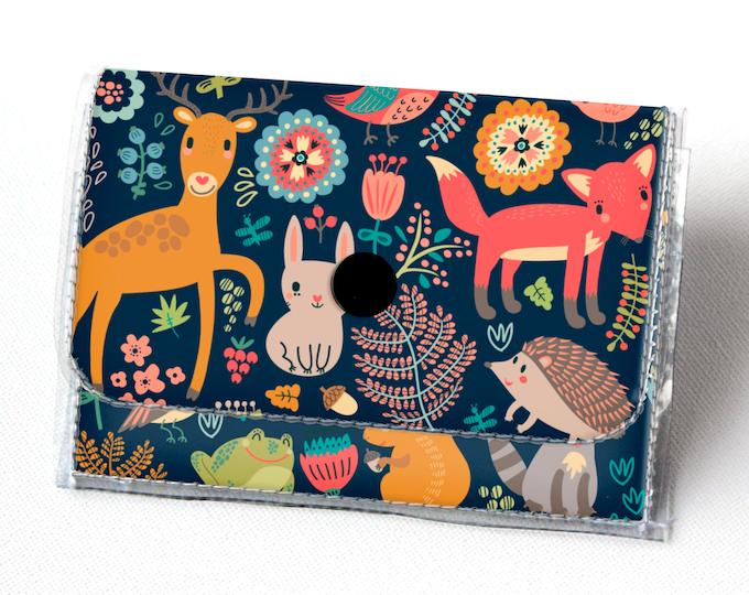 Vinyl Accordion Wallet - Fall Forest1 / fox, woodland, cute, small wallet, snap, cute, card case, vinyl wallet, deer, autumn, blue