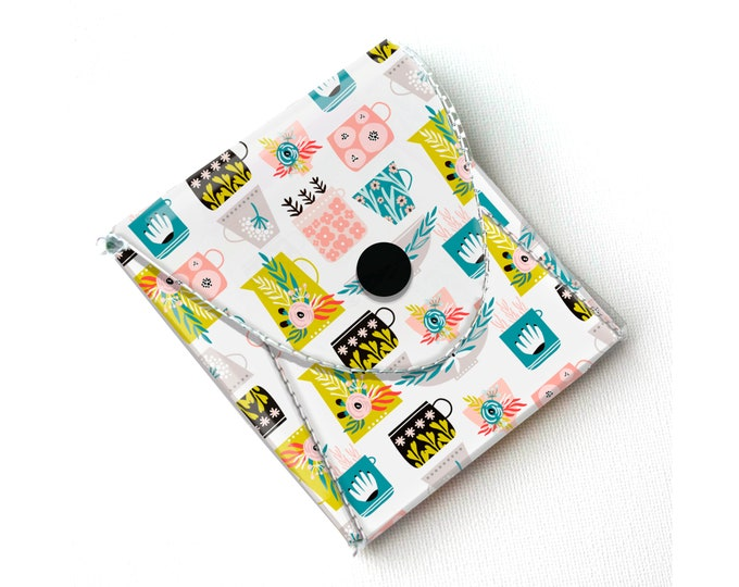 Vinyl Pouch - Blooming Spring Pots / small wallet, coin purse, vegan wallet, kids wallet, floral, flowers, gardener, gift