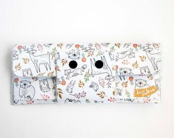 Handmade Vinyl Long Wallet - In the Woodland, bird wallet, deer, bear, owl, woodland animals, vegan, large wallet, clutch, zipper, card case