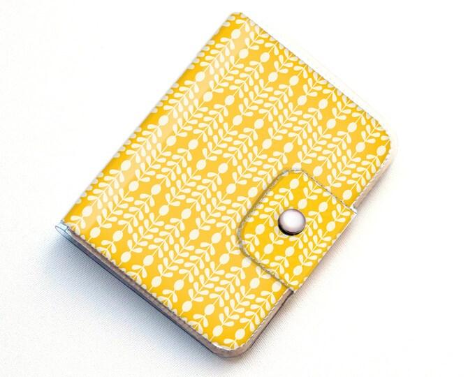 Vinyl Passport Case - Scandinavian Summer4/ traveller, floral, yellow, flowers, folk, folksy, passport, vinyl, gift, woman's, wallet, case