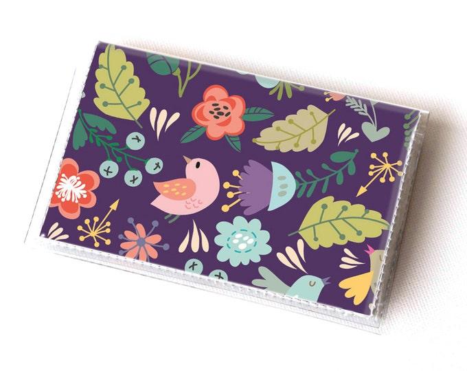 NEW Handmade Vinyl Card Holder - Gentle  / card case, vinyl wallet, women's wallet, small wallet, pretty, gift, bird, purple, gardener