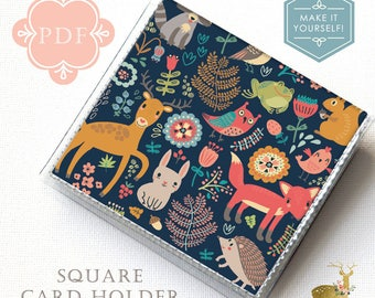 Square Card Holder Sewing Pattern PDF - Vinyl and Paper - / vinyl wallet, tutorial, template, craft supplies, sewing, paper wallet, how to