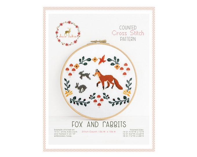 Counted Cross Stitch Pattern - Fox and Rabbits / cross stitch, diy, how-to, embroidery, pattern, gift, supply, instruction, baby, woodland