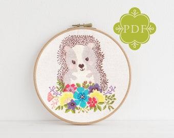 PDF Counted Cross Stitch - Hedgehog / hedgehog cross stitch pattern, embroidery, pattern, gift, dmc, supply, instruction, baby, nursery,