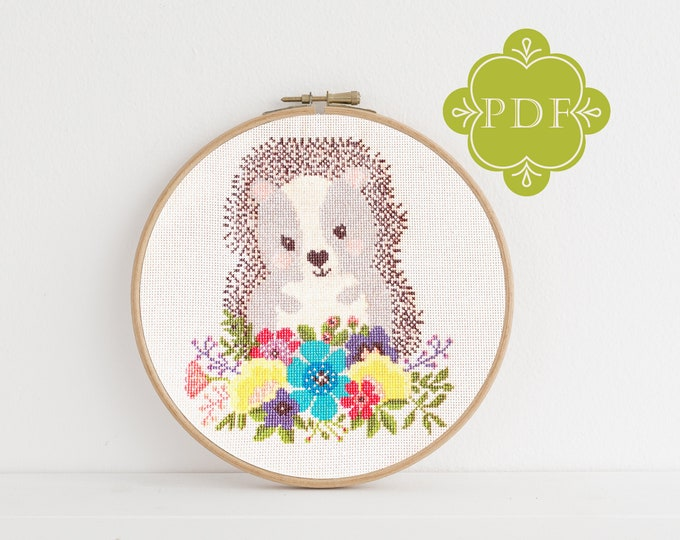 PDF Counted Cross Stitch - Hedgehog / hedgehog cross stitch pattern, embroidery, pattern, gift, dmc, supply, instruction, baby, nursery,