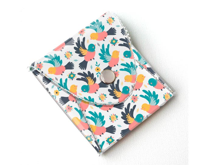 Vinyl Coin Purse - Spring Birds / coin, wallet, vegan wallet, change, small, little, pocket wallet, gift, flowers, floral, notion case