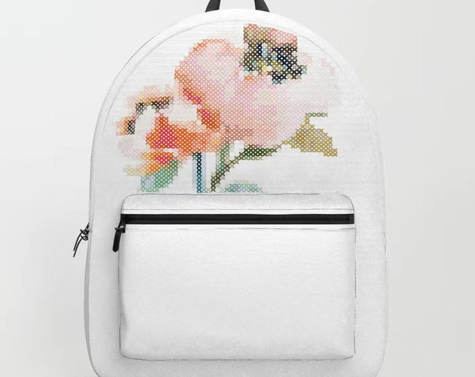 Backpack - Happy Stitching / crafter bag, cross stitch, embroidery, gift,  handmade, maker, embroidery, stitching, stitcher, bag, purse