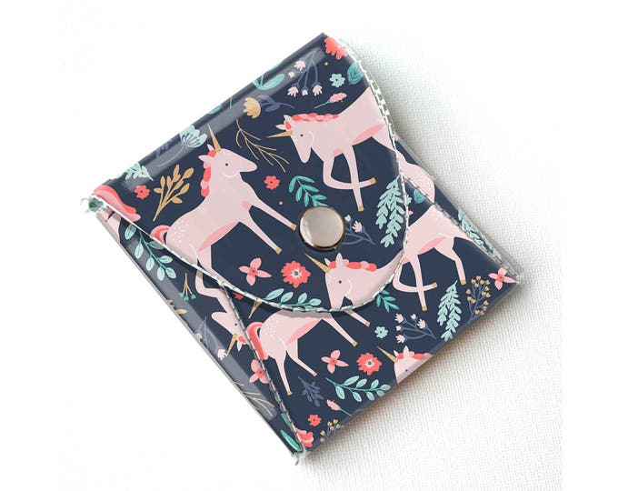 Vinyl Pouch - Unicorn Forest / magical, mythical, floral, pink, flowery, wallet, vegan, change, snap, small, pocket wallet, gift, sewing