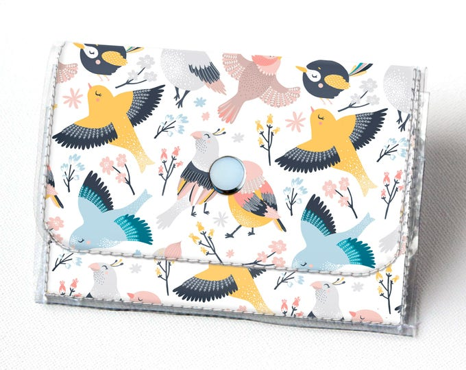 Handmade Vinyl Accordion Wallet - Blossom / birds, floral, flower, small wallet, snap, cute, card case, vinyl wallet, women's wallet, zipper