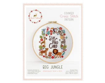 Counted Cross Stitch Pattern - Big Jungle / sloth cross stitch, diy, how-to, embroidery, pattern, gift, supply, instruction, baby, nursery
