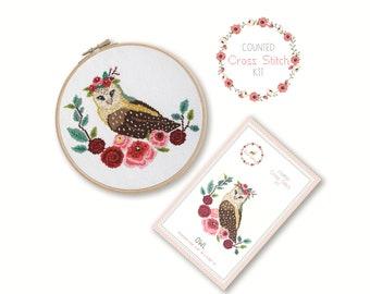 Counted Cross Stitch Kit - Owl / owl cross stitch pattern, craft kit, embroidery, pattern, gift, fun craft, nursery, baby gift, bird, cute