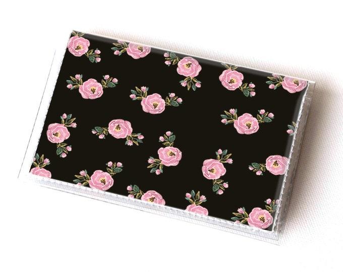 Handmade Vinyl Card Holder - Boho Chic  / card case, vinyl wallet, women's wallet, small, pretty, diamonds, floral, boho wallet, vegan