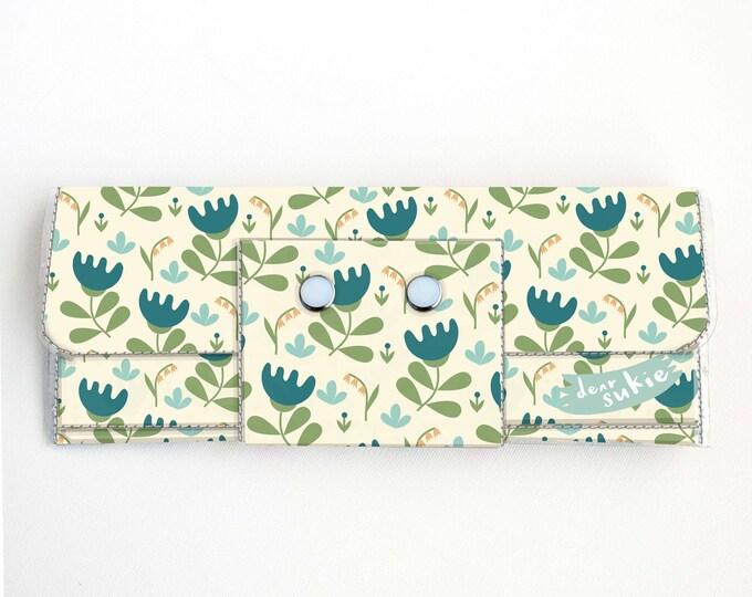 Vinyl Long Wallet - Scandinavian Summer 3 / folk, floral, flowers, blue, vegan, large wallet, clutch, card case, vinyl wallet, handmade