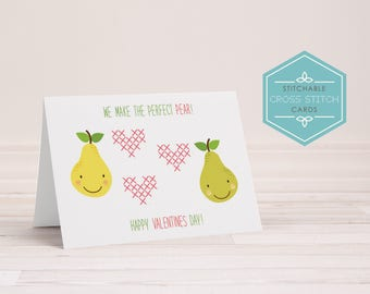 PDF Stitchable Valentines Day Card - cross stitch, embroidery, pear, perfect pear, craft, diy card, printable, cute, handmade, digital
