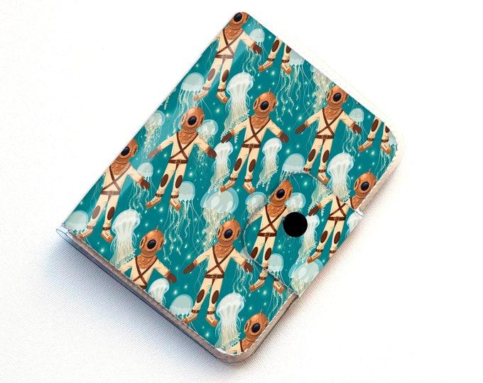 Handmade Vinyl Passport Case - Underwater Explorer / traveller, passport, vinyl, gift, womans, mens, wallet, map, scuba, retro, squid, fish
