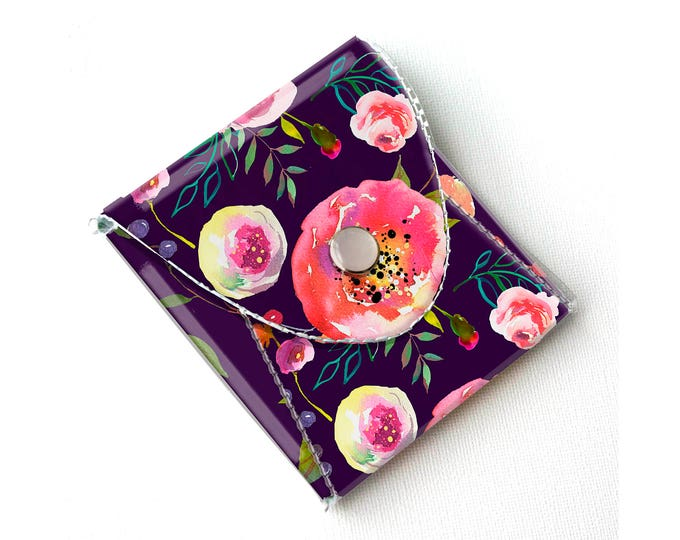 Vinyl Coin Purse - Pastel Floral Violet / coin, wallet, vegan, change, peony, small, little, pocket wallet, gift, flowers, floral, purple